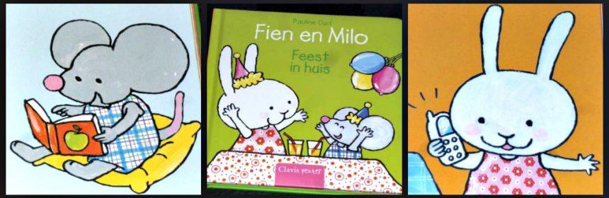 Fien en Milo Feest in huis Pauline Oud prentenboek Clavis versieringen slingers ballonnen huis voorwerpen activiteiten feestje recensie review