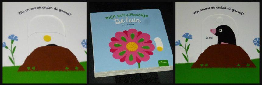 Mijn schuifboekje De Tuin Nathalie Choux Clavis prentenboek kartonboek schuiven draaien draairad herkenbaar recensie review