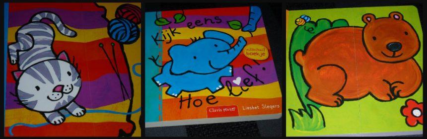Kijk eens, hoe lief! Liesbet Slegers Baby- en peuterboeken peuters kleuters prentenboekje kartonboek uitschuiven verrassingen dieren kindje genieten hulp verwondering recensie review