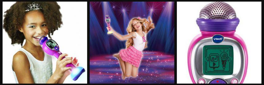 VTech Kidi SuperStar Move Karaokeset karaoke zingen microfoon audiokabel externe muziekspeler smartphone youtube batterijen stemvervormer muziek magie originele stemmen wegdrukken meezingen optreden artiesten favoriete muziek speelplezier telefoon recensie review