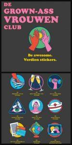 De Grown-Ass Vrouwenclub Meredith Haggerty MUS Creatief BBNC ere medaille stickers verdienen plakken aandachtspunten presentje stickerboek grappig serieues certificaat prestatie recensie review