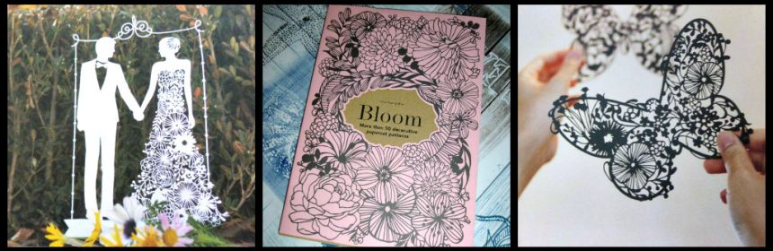 Bloom Choi Hyang Mee creatief papercutting patterns Laurence King Publishing creatief precisie uitknippen uitsnijden geduld zwart bruin wit papier kaart lijstje patronen voorbeelden recensie review