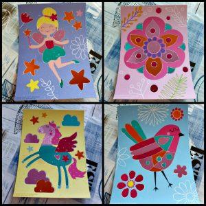 SES Mess Free Glanskaarten glitter glansfolie kaarten knutselen kunstwerkjes eenvoudig knutselset schutvel stickervlakken wrijven plaklaag 3+ recensie review