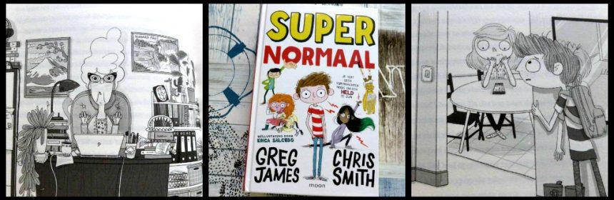 Super Normaal Greg James Chris Smith Zelf Lezen Uitgeverij Moon graphic novel superhelden school verhuizen gave heldendaad fantasierijk spanning lachen tekeningen recensie review