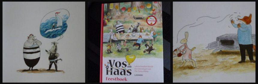 Vos en haas Feestboek Sylvia Vanden Heede Thé Tjong-Khing voorleesboek zelf lezen smartphone Facebook afgezonderd prenten tekeningen schermpje recensie review