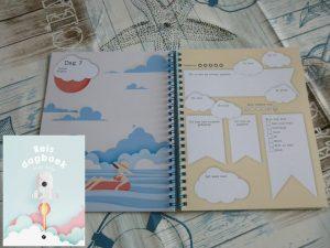 Reisdagboek voor kids doeboek flamingo kinderboeken BBNC vakantie dagen voldoende origineel uitstapjes vormgeving ringband schrijven plattegrondjes folders toegangskaartjes toevoegen emoji weerbericht humeur sterrenwaardering recensie review