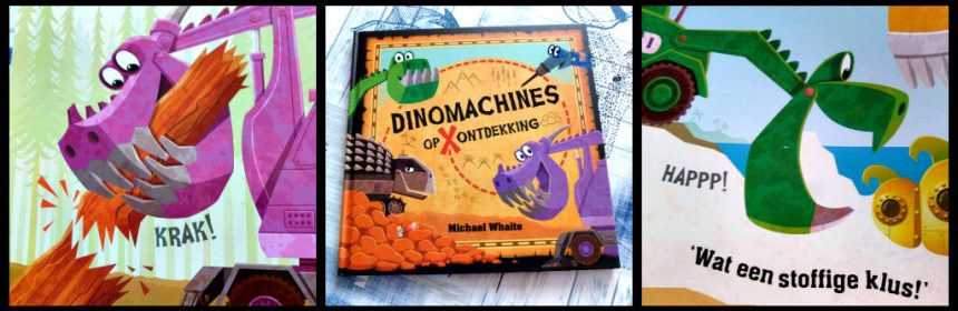 Dinomachines op ontdekking Michael Whaite prentenboek Uitgeverij Holland ontdekkingstocht zoeken verhaallijnen obstakels recensie review