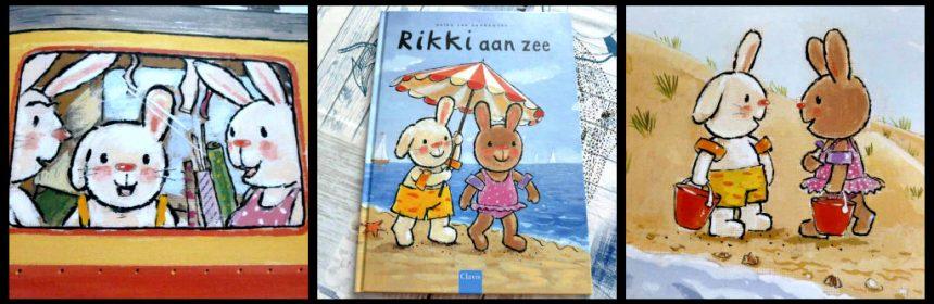 Rikki aan zee Guido van Genechten prentenboek vakantie strand konijntje schelpjes zoeken boottocht moe zwembandjes slaap tekeningen vakantievriendschap plezier recensie review