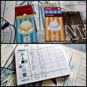 Sundae Split kaartspel White Goblin Games 10+ ijsjes ijssoorten toppings hagelslag slagroom vanille chocolade minpunten recensie review