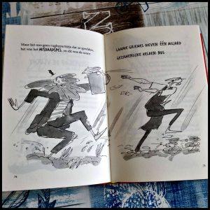 De verschrikkelijke Meneer Gom en de peperkoekmiljonair Andy Stanton Mattias de Leeuw Lannoo Zelf Lezen Graphic Novel tekeningen letterformaat peperkoekventje avontuur figuur fantasie De Waanzinnige Boomhut absurd koektrommel geld recensie review