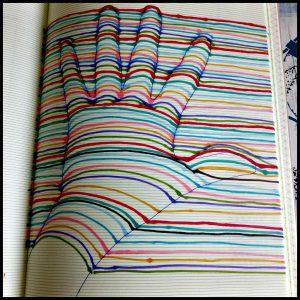 Hokjes een out of the box tekenboek doodle Jacky Bahbut Uitgeverij Moon tekenen kleuren opdrachten lijnenspel potlood pen papier diversiteit doolhof skyline 3D vormen hokjes strepen rondjes optische illusie recensie review