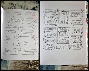 Mijn Bullet Journal Decoraties BBNC MUS Creatief banners pictogrammen tekeningen lijstjes pijlen pimpen creatief tijd bujo eenvoudig snel opbergen bladzijden pagina's overtrekken uitvoering systeem recensie review