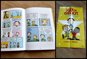 Niek de groot en zijn vrienden Lincoln Peirce stripboek De Fontein verzameling graphic novels strips avonturen verhalen variatie onderwerpen lachen grappig poster kleur recensie review