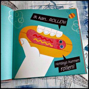 Hallo Hotdog Lily Murray prentenboek Flamingo BBNC grappig tekeningen minimaal stemmetjes toevoegingen kinderen ketchup opgegeten ontsnappen wegrenenn dubbele salto vliegen slim oplossing recensie review