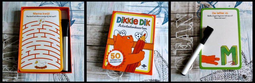 Dikkie Dik Activiteitenkaarten spelletjes doosje Gottmer whiteboard-marker stift wisser oefenen tellen letters herkennen puzzeltjes tekenen vliegvakantie wissen herbruikbaar speelplezier recensie review