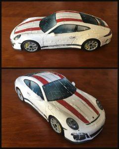 Ravensburger Porsche 911 3D Puzzel 108 stukjes plastic kunststof blikvanger bevestigen geen lijm nodig cijfer pijl kinderen volwassenen liefhebber sportwagen behendigheid Volkswagen Bus puzzelen recensie review