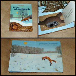 Als het winter wordt Thomas Müller flapjesboek De Vier Windstreken tekeningen leerzaam dieren winterlandschap voetsporen vogels vos hert eekhoorn kinderhandje samenlezen recensie review