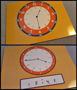 Oefenklok met uitwisbare stift educatief Deltas analoog digital klokkijken wijzers tekenen uitwissen tijden oefenen makkelijk eenvoudig ruimte opruimen klas recensie review