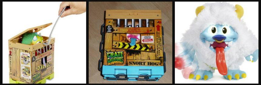 Crate Creatures Surprise unboxing MGA Entertainment speelgoed verzamelen knuffelgehalte Snort Hog Pudge Sizzle Blizz monsterachtig snot krat breekijzer opname 4+ speelplezier geluid ogen box recensie review