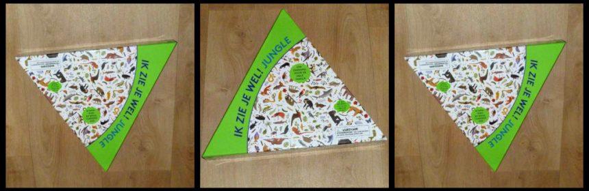 Ik zie je wel! Jungle familiespel gezelschapsspel zoekspel zoeken dieren fiches puzzelplaten tijdsduur win naar kaartjes eenvoudig spelregels BIS Publishers driehoek voor- en achterzijde onthouden speelbord recensie review