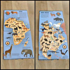 De grote dierenatlas Anne McRae informatief educatief dieren atlas wereld omgeving app filmpjes actie leefomgeving kinderen weergeven werelddeel steppe sahara oceaan Antartica poolgebied prairie Groenland tablet smartphone recensie review