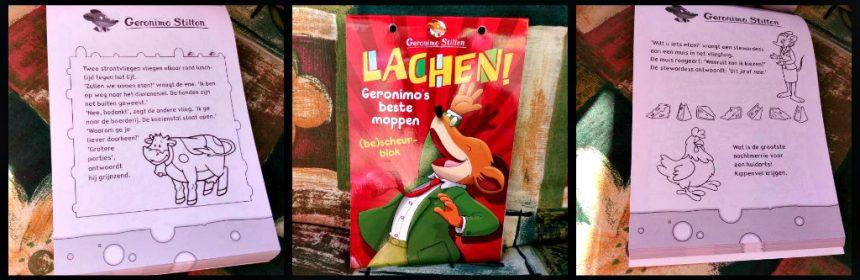 Lachen! Geronimo's beste moppen (be)scheurblok Geronimo Stilton Moppenboek scheurboek lachen cadeau kado verjaardag partijtje grappen kinderen kleurplaat inkleuren creatief succes school uitgelachen kleuren De Wakkere Muis recensie review