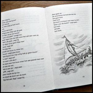Gooi juf in zee! Corien Oranje Juf Fiep Leren Lezen Royal Jongbloed Uitgeverij Columbus AVI-Thriller AVI M3 korte zinnen tekeningen spannend piraat avontuur plan zeepaard doos tand recensie review