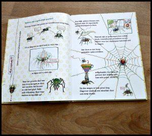 Spinnenalarm! Nooit meer bang voor spinnen Nina Dulleck Spinnen Alarm prentenboek bang angst mensen informatie beestjes soorten maten leefomgeving eng tips handigheidjes leuk kinderen volwassenen kijken nuttig geruststellend Europa dochter prinsessen spinnenvriendjes naam recensie review