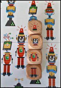 Spot de robot bordspel zoek- en vind spel Laurence King Publishing spelers spelen dobbelstenen speelbord leuk zoeken antenne hoofd lijfje benen robots muntjes robotmuntjes simpel origineel gespot uitdaging compleet illustraties recensie review