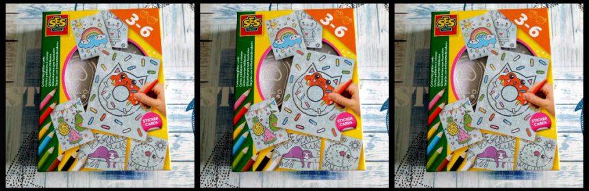SES Glitterkaarten inkleuren glitter kaarten SES Creative 3+ knutselen kleurpotloden puntenslijper creatief kleurpotloden ondergrond jonge kinderen structuur opa's oma's koelkast recensie review